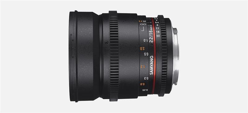 Samyang 16mm T2.2 VDSLR ED AS UMC CS II, objektiivi
