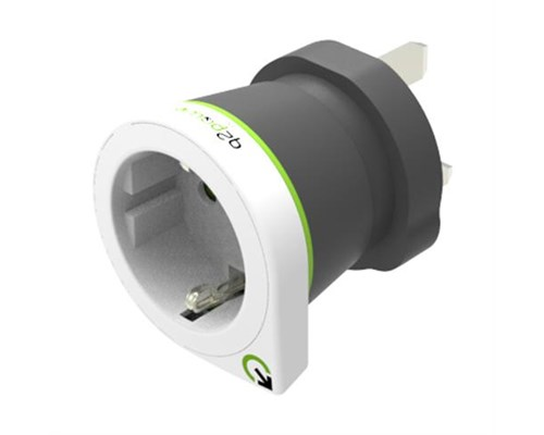 Q2power Travel Adapter Grounded 10a Eu - Uk White