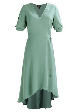 Topshop EMMA TIE WRAP Vapaaajan mekko darkgreen