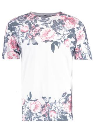 Topman FADE ROSE PANEL SLIM FIT Printtipaita white