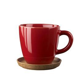 Höganäs Keramik Höganäs kahvimuki ja aluslautanen 33 cl omenanpunainen, kiiltävä