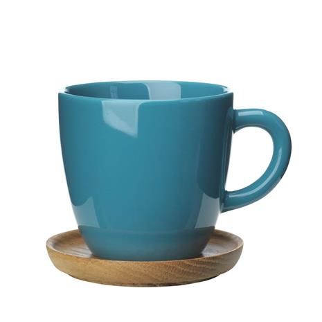 Höganäs Keramik Höganäs kahvimuki ja aluslautanen 33 cl merenvihreä kiiltävä