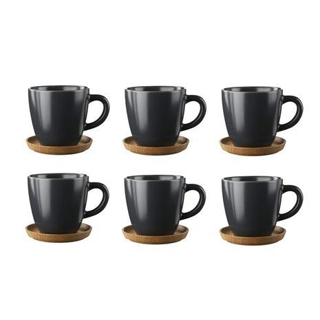 Höganäs Keramik Höganäs kahvimuki ja aluslautanen 6 kpl Grafiitinharmaa