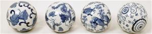 Dekorationsbollar i porslin 4-pack
