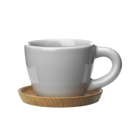 Höganäs Keramik Höganäs espressomuki ja aluslautanen 10 cl vaaleanharmaa kiiltävä