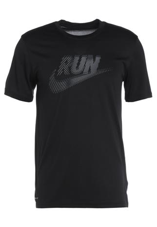 Nike Performance RUN SWOOSH Printtipaita black/armoury blue