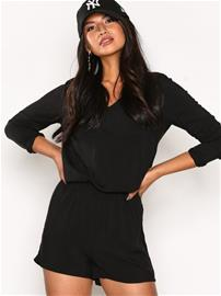 Only onlNOVIA V-Neck L/S Playsuit Wvn Playsuits Musta