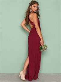 NLY Eve Maxi Crepe Gown Maksimekot Burgundy