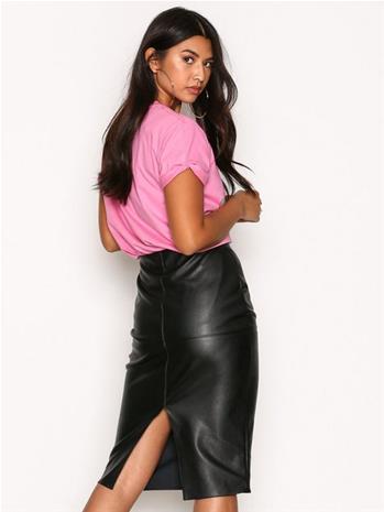 River Island Faux Leather Panel Pencil Skirt Midihameet Black
