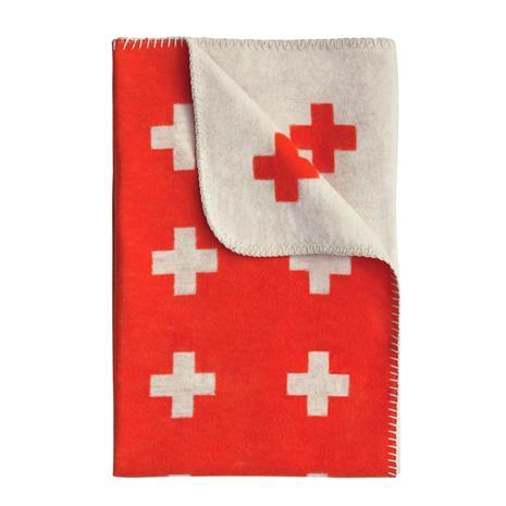 Pia Wallen Cross blanket huopa pieni punainen-oranssi