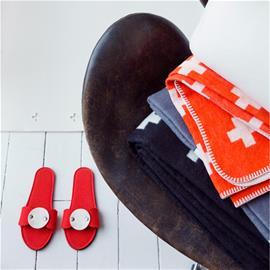 Pia Wallen Cross blanket huopa iso punainen-oranssi