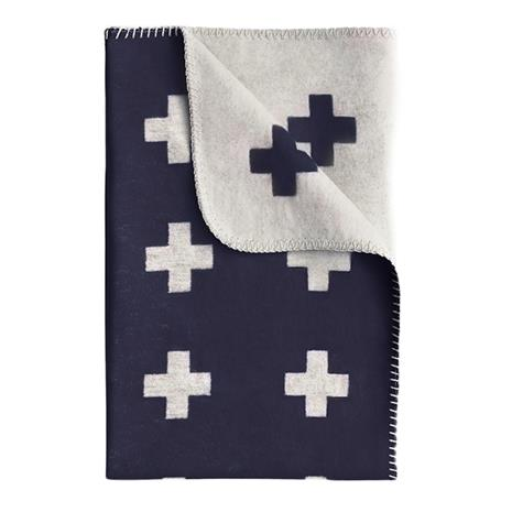 Pia Wallen Cross blanket huopa pieni tummansininen