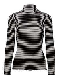 Rosemunde Silk T-Shirt Regular Ls Roller Neck BLACK IVORY STRIPE