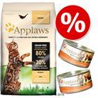Applaws-sekoitus: 4 kg kuivaruokaa + 24 x 70 g märkäruokaa - Chicken & Salmon + 24 x 70 g kana & juusto
