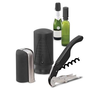 Pulltex Viini- & Samppanjasetti 3 osaa Musta