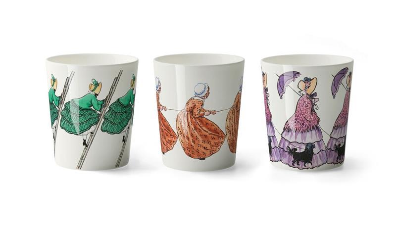 Design House Stockholm Elsa Beskow Aunt Green, Brown and Lavender Muki 3 kpl 28 cl