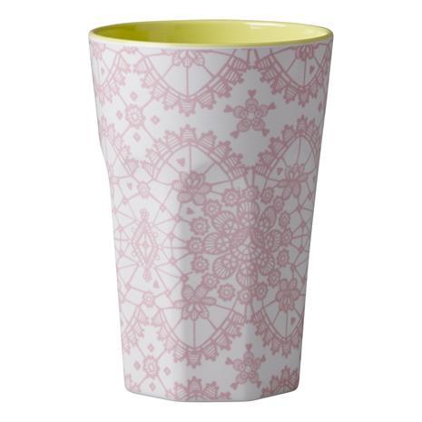 Rice Muki Latte Melamiini Pink Lace Print Yellow Inner