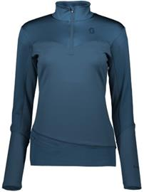 Scott Defined Mid Half Zip Tech Tee LS nightfall blue Naiset