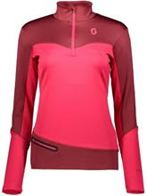 Scott Defined Mid Half Zip Tech Tee LS mahogany red / ruby red Naiset