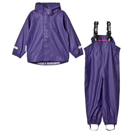 Rain Set 2pcs Authentic Rubber With Detachable Hood Parachute Purple98 cm