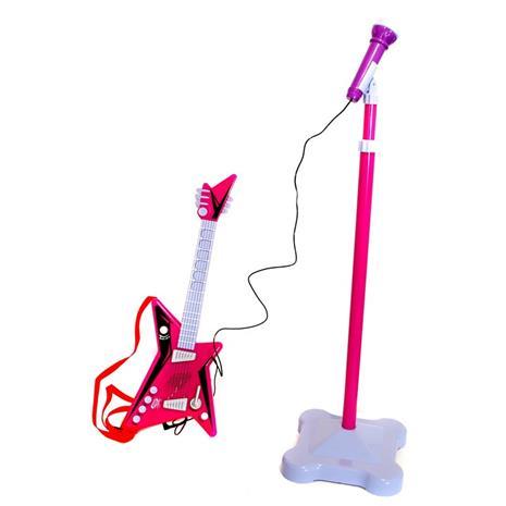 Kitara ja mikrofoni sekä teline, Pinkki