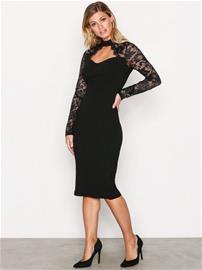 Ax Paris Lace Sleeve Dress Kotelomekot Black