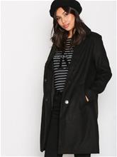 New Look Longline Collared Coat Pitkät takit Black