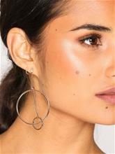 NLY Accessories Circle Bar Hoop Earrings Korvakorut Kulta