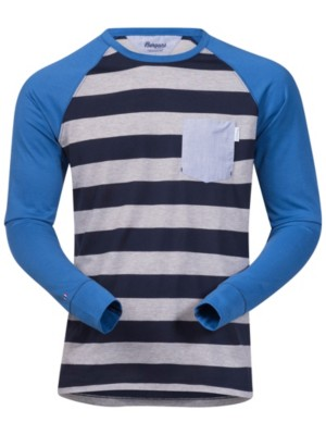 Bergans Torungen T-Shirt LS grey mel / navy striped / mid Miehet