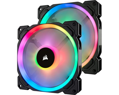 Corsair LL140 RGB - 2 Fan Pack with Lighting Node PRO (140mm), 2 x kotelotuuletin + ohjain