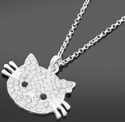 Stor Katt Halsband med kristaller och lång kedja