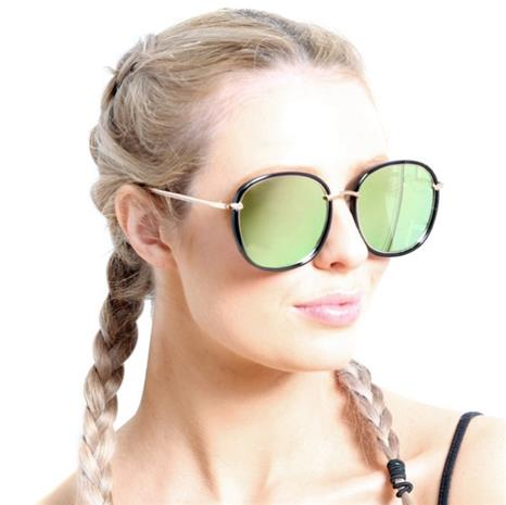 Solglasögon - Runda med Grön-rosa speglade linser
