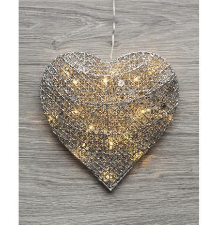 Kotikulta Sydän-koristevalaisin (3D), 25 cm, 16 LED:iä