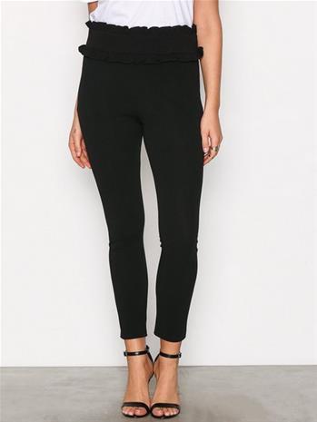 NLY Trend Jersey Frill Waist Pants Housut Musta