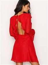 NLY Trend Shiny Frill Dress Skater Dresses Punainen