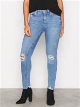New Look Ripped Fray Skinny Jeans Skinny Blue