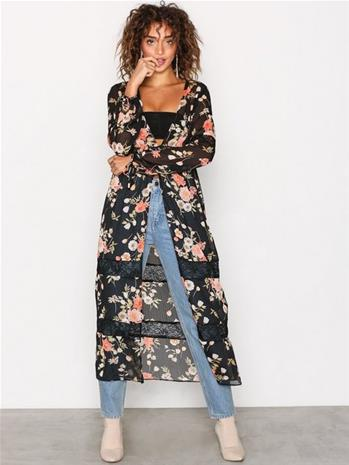 New Look Floral Chiffon Cover Up Tunikat Black