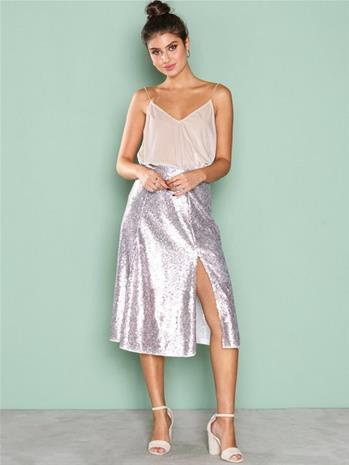 NLY Eve Sequin Skirt Midihameet Champagne