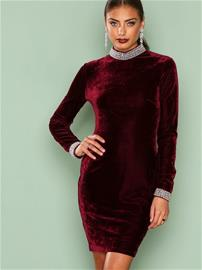 NLY One Beaded Velvet Dress Kotelomekot Burgundy