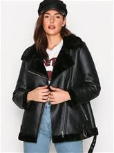 New Look Fur Lined Aviator Jacket Nahkatakit Black