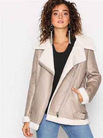 New Look Fur Lined Aviator Jacket Nahkatakit Oatmeal