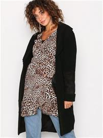 New Look Teddy Fallaway Coat Pitkät takit Black