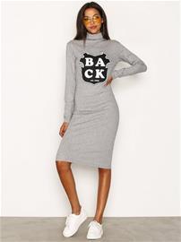 BACK Print LS Dress Pitkähihaiset mekot Grey Melange