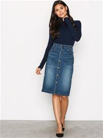 Polo Ralph Lauren Button Front Skirt Midihameet Indigo