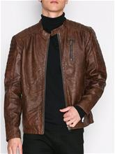 Jack & Jones Jjvrichard Lamb Leather Jacket Noos Takit Tummanruskea