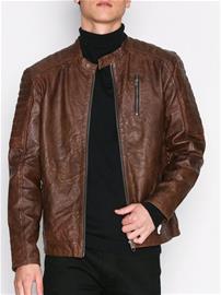Jack & Jones Jjvrichard Lamb Leather Jacket Noos Takit Tummanruskea
