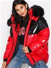 River Island Colourblock Puffa Jacket Untuvatakit Red