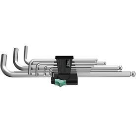 Wera 950 PKL/9 SM N L-key set, metric, chrome-plated (05022087001), kuusiokoloavainsarja