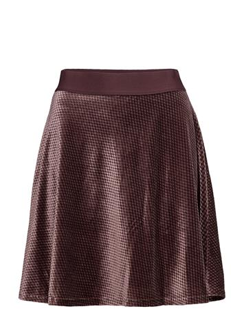 Saint Tropez Check Velvet Skater Skirt FUDGE