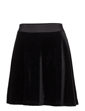 Saint Tropez Check Velvet Skater Skirt BLACK